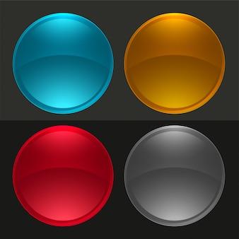 Conjunto de botones redondos brillantes o bolas de cristal.