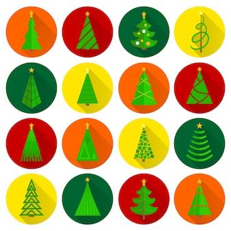Conjunto de botones redondos planos de árbol de navidad