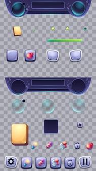 Conjunto de botones sobre fondo transparente