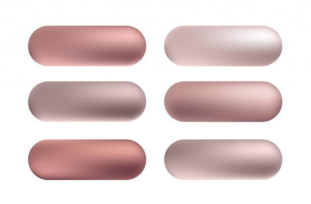 Conjunto de botones de textura de lámina de oro rosa, bronce. patrón de gradiente metálico de brillo dorado de vector.