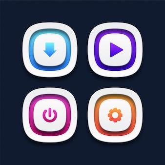 Conjunto de botones web 3d