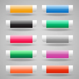 Conjunto de botones web brillante