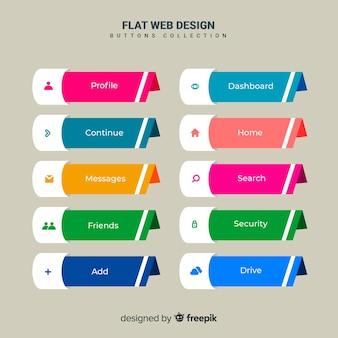 Conjunto de botones web en diseño flat