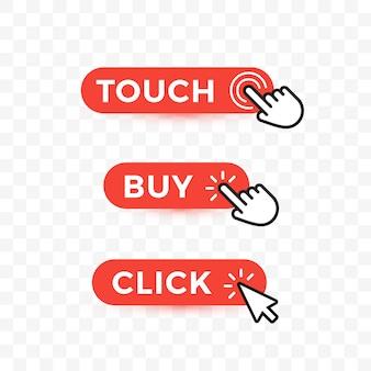 Conjunto de botones web de elección. toque, pero y haga clic en el texto en los botones redondeados con flechas o puntero de mano.