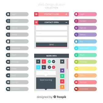 Conjunto de botones web en estilo flat