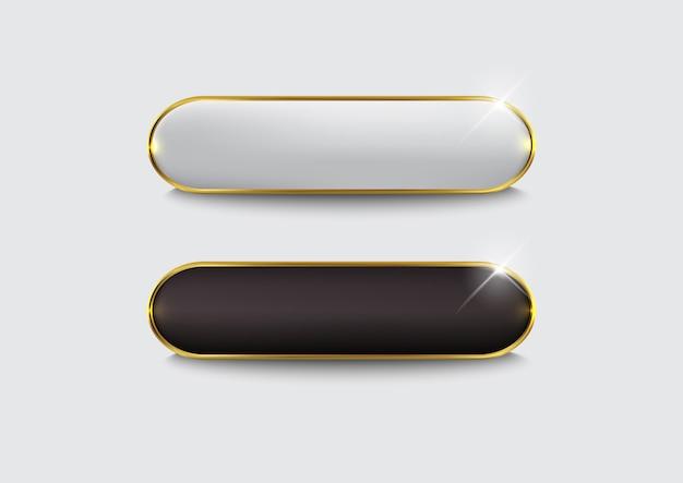Conjunto de botones web oro negro brillante
