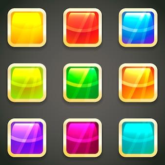 Conjunto de botones web de vector brillante brillante vibrante con marcos metálicos dorados