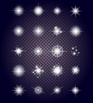 Conjunto brilla fuegos artificiales de luz de estrella brillante