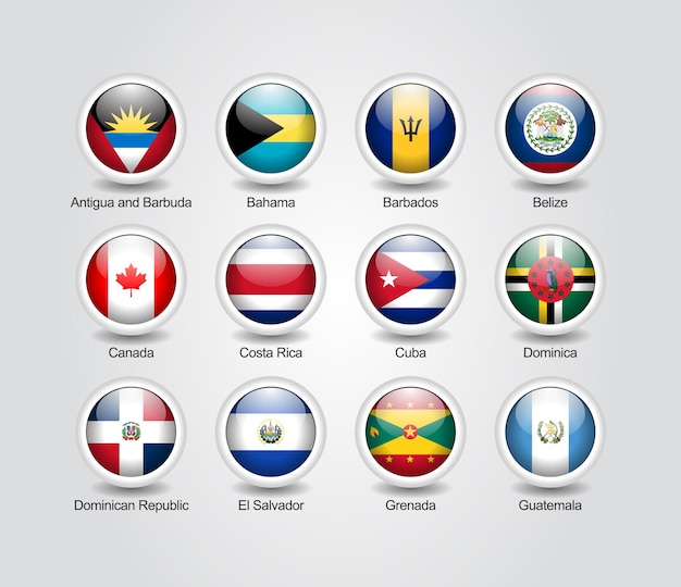 Conjunto brillante de iconos 3d para banderas de países de américa del norte