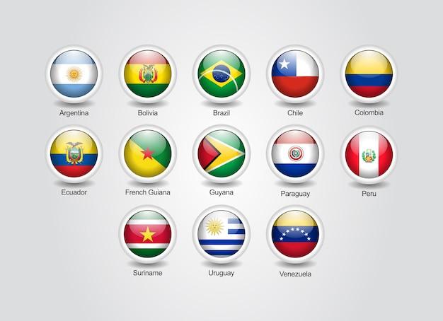 Conjunto brillante de iconos 3d para banderas de países de américa del sur