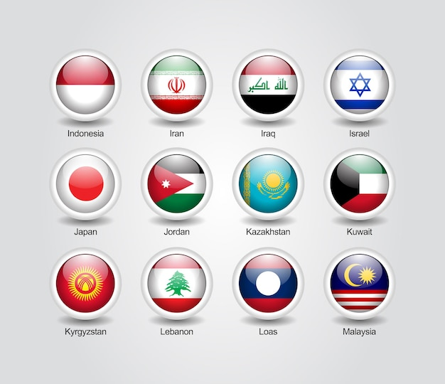 Conjunto brillante de iconos 3d para banderas de países asiáticos
