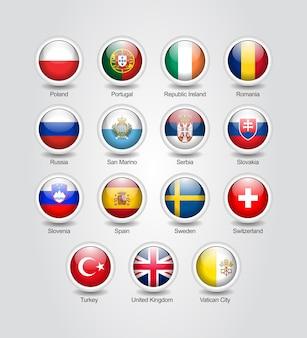Conjunto brillante de iconos 3d para banderas de países de europa