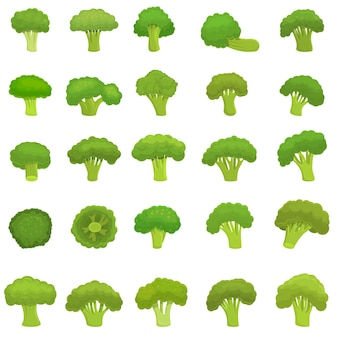 Conjunto de brócoli. conjunto de dibujos animados de brócoli