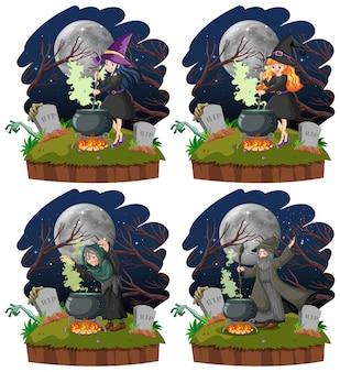 Conjunto de brujas con estilo de dibujos animados de pote mágico negro aislado sobre fondo blanco.