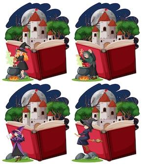 Conjunto de brujas y torre del castillo con estilo de dibujos animados de libro emergente sobre fondo blanco