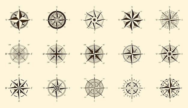 Conjunto de brújula. medida de dirección norte y sur en etiquetas de grabado aisladas, iconos de viaje dibujados a mano de rosa de los vientos vectoriales