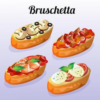 Conjunto de bruschetta de comida italiana
