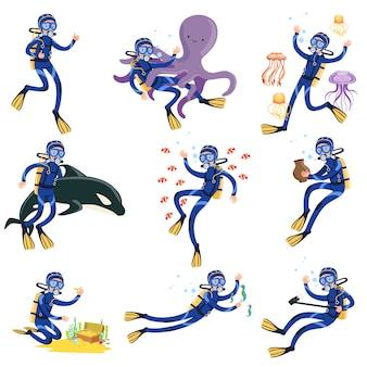 Conjunto de buceo y esnórquel, buceador en natación submarina y búsqueda de tesoros en el fondo del mar ilustraciones