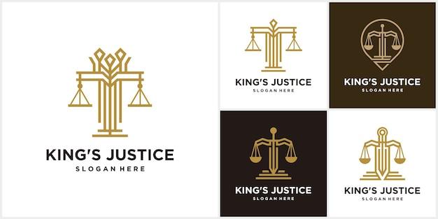 Conjunto de bufete de abogados king justice y logotipo personal de la empresa