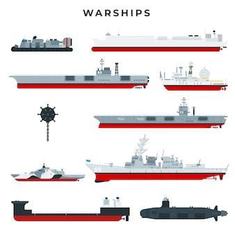 Conjunto de buques de guerra de diferentes tipos.