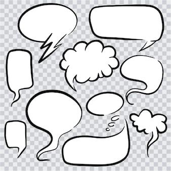 Conjunto de burbuja de conversación de dibujos animados. nubes de discurso arte dibujado a mano