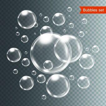 Conjunto de burbujas bajo el agua aislado