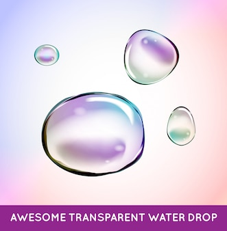 Conjunto de burbujas de agua de jabón de arco iris. transparente aislado realista