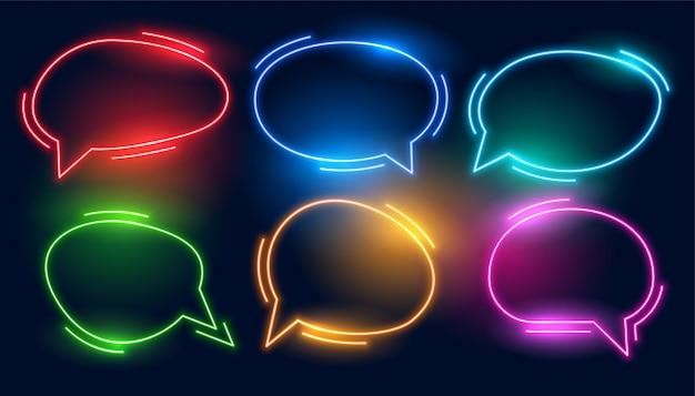 Conjunto de burbujas de chat coloridas en estilos de neón