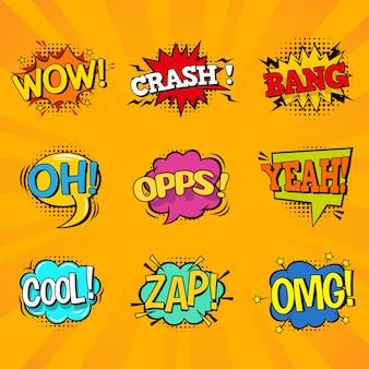Conjunto de burbujas coloridas discurso cómico