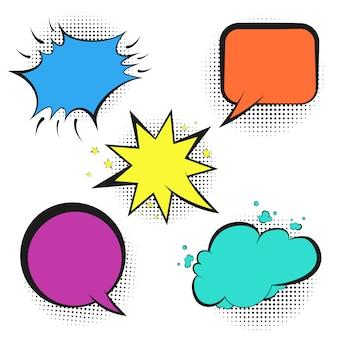 Conjunto de burbujas coloridas discurso retro