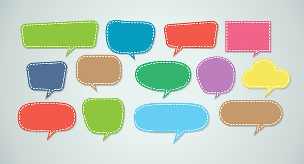 Conjunto de burbujas coloridas discurso