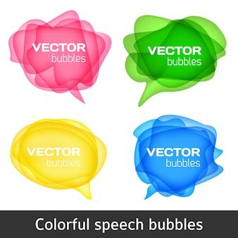 Conjunto de burbujas coloridas del discurso