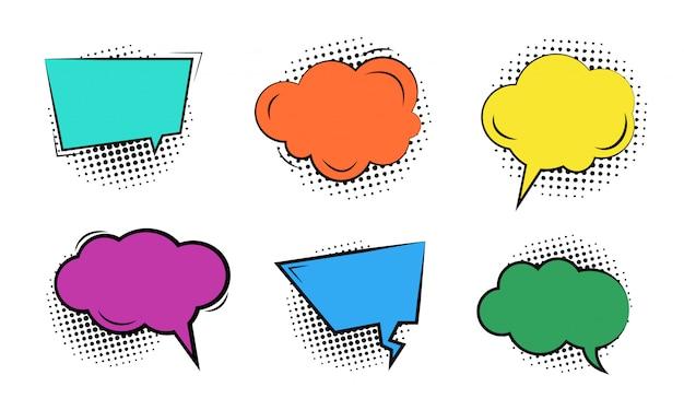 Conjunto de burbujas coloridas vacías de dibujos animados