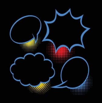 Un conjunto de burbujas cómicas y elementos con sombras de medios tonos sobre fondo negro