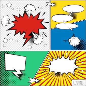 Un conjunto de burbujas cómicas y elementos con sombras de medios tonos.
