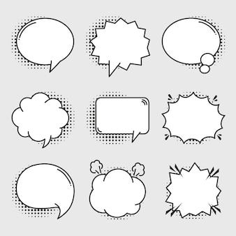 Conjunto de burbujas cómicas vacías