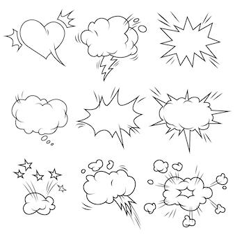 Conjunto de burbujas cómicas