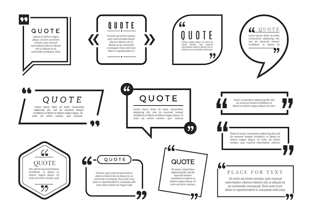 Conjunto de burbujas de cotización. colección de marcos de blogs diferentes. cita de blog, información de burbujas de discurso, ilustración de cotización de cuadro de texto