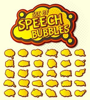 Conjunto de burbujas de discurso amarillo del arte pop
