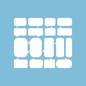 Conjunto de burbujas de discurso blanco pixel