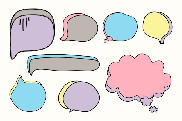 Conjunto de burbujas de discurso en blanco