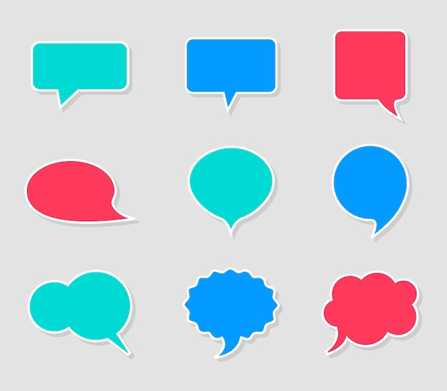 Conjunto de burbujas de discurso brillante vacío. pegatinas de diferentes formas con sombras