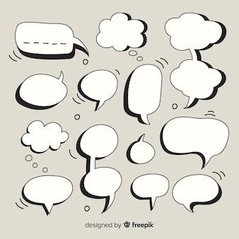 Conjunto de burbujas de discurso colección cómica sobre fondo gris