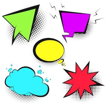 Conjunto de burbujas de discurso de color retro brillante