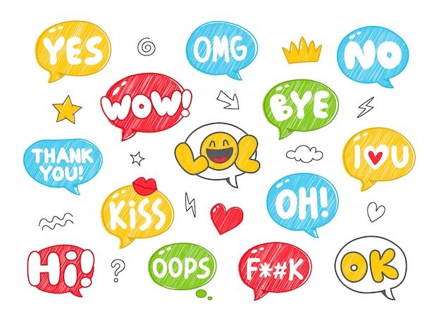 Conjunto de burbujas de discurso colorido estilo dibujado a mano con frases cortas escritas a mano