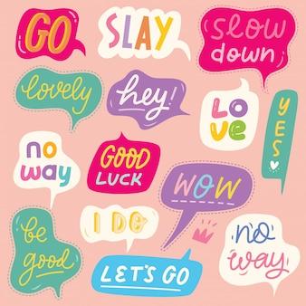 Conjunto de burbujas de discurso colorido con palabras