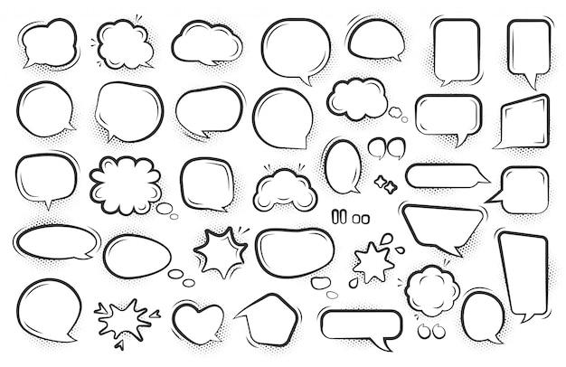 Conjunto de burbujas de discurso de cómic pop art. plantilla de mensaje de dibujos animados texto nube semitono punto sombra línea negra