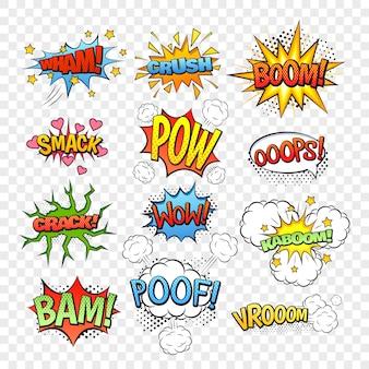 Conjunto de burbujas de discurso cómico aislado en la ilustración de vector de fondo transparente
