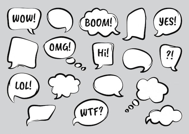 Conjunto de burbujas de discurso cómico con diferentes palabras, dibujado a mano. ilustración