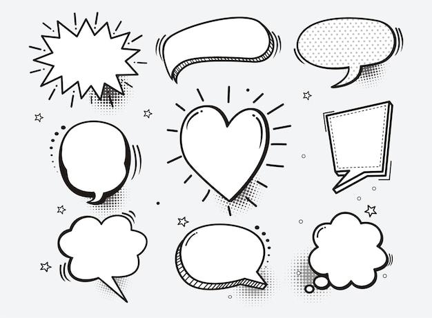 Un conjunto de burbujas de discurso cómico y elementos con sombras de medios tonos